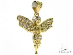 10k gold angel pendant and chain set