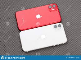 Apple IPhone 11 PRODUCT RED, Apple IPhone 11 White On A Gray Surface.  Editorial Stock Photo - Image of eleven, illustrative: 170016133