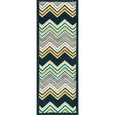 palm navy multi chevron rug 8x10