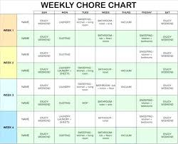 Weekly Household Chores Template Household Chore Chart Template