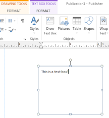 text boxes in publisher text box tools