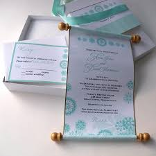 winter fairytale boxed wedding invitation scroll suite in aqua and silver with snowflakes set of 25