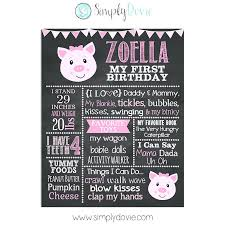diy chalkboard birthday invitations pig first milestone sign simply girl