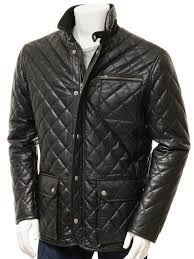 men s black leather jacket colyford front