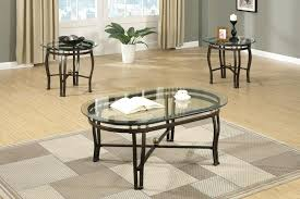 modern oval coffee round end side table set glass top bronze glass coffee table and side