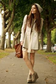 beige pea coat with dress