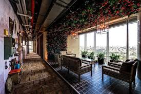 the architects did a wonderful job of bringing the outdoors inside google tel aviv cafeteria
