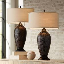 Cody Modern Table Lamps Set Of 2 Hammered Oiled Bronze Oatmeal Linen