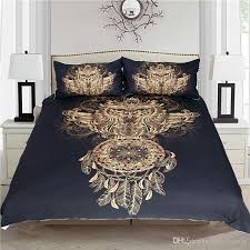 golden owl bedding set luxury dreamcatcher print black 3d animal feather bohemian twin full queen king size bed cover full size comforter sets silver