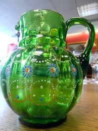 antique green glass green glass jug antique green slag glass lamp