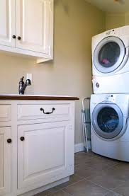 Washer Dryer Cabinet small basement laundry room design after makeover with stacked 7312 by uwakikaiketsu.us