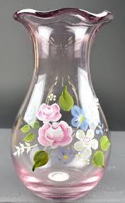 fenton art glass scalloped rim violet purple vase hand painted fl design