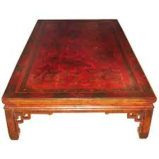 large red lacquer coffee painting table chinese hua an for