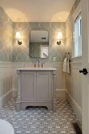 Grey Vanity With Wallpaper And Patterned Tile Www Encoreco Com Stylish Bathroom Small Bathroom Renos Bathroom Renos