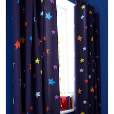 by blue with coloured stars outer space curtains fully lined tab top
