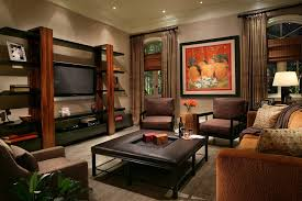 drywall entertainment center with midcentury ottomans and footstools family room contemporary and wood trim
