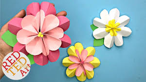 Flower Paper Craft Easy 3d Paper Flowers For Spring Red Ted Art