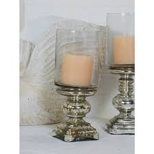silver glass hurricane pedestal candle holder