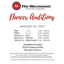 Dance Audition Resumes The Movement Talent Agency Hollywood Connection