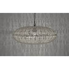 silver moroccan elliptical etched hanging pendant light lit up
