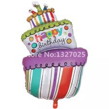 1PC Happy Birthday cake big balls Birthday candle foil balloons