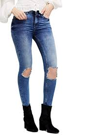 Free People Womens High Rise Busted Skinny In Turquoise