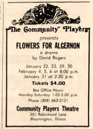 flowers for algernon community players theatre ad