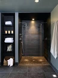walk in shower no glass dark colored basement walk in shower and glass shelves on the walk in shower no glass