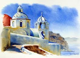 watercolor painting of santorini greece