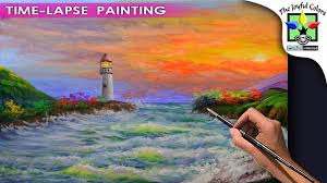 basic painting tutorial beach with watch tower waves during sunset acrylic art lesson beginners