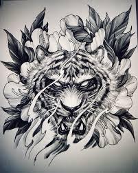 Tiger And Peony Sketch By At Davidhoangtattoo Tiger Tats Tiger