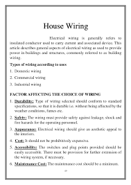 survey report on house wiring types of metal wire at House Wiring Types