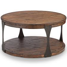 magnussen home montgomery industrial reclaimed wood round coffee table with casters in bourbon finish