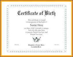 Printable Blank Baby Birth Certificate Template Download