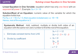 mathematics linear equations in one variable