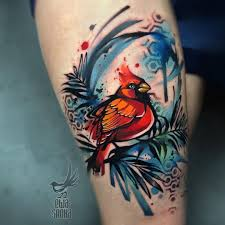 Watercolour Tattoo With Bird And Abstract