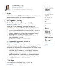 International Format Resume Sample For Call Centre Representative Aka Example Standard