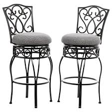 wrought iron bar chairs. Classic Scroll Black Metal 30 Inch Curved Back Bar Stools Height With Swivel And Tan Fabric Seat (Set Of 2) - Includes Modhaus Living Pen Wrought Iron Chairs O