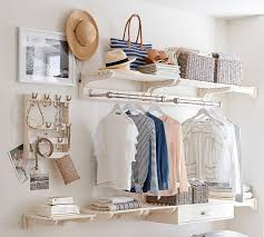 a more advanced version of this approach is pottery barn s declan closet accessories all you need is a wall to create a closet choose the rods shelves