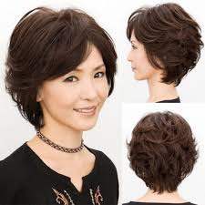 Asian Woman Short Hair Style about young mom old gift women weave short curly wavy blackbrown 4072 by wearticles.com