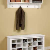 Coat Rack Cabinet White Wooden Painted Bench Shoe Organizer Under Wall Mount Coat Rack 50