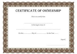 Certificate Of Ownership Template 1 Best 10 Templates