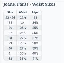 Jeans Size Chart Jeans Pants Size Chart
