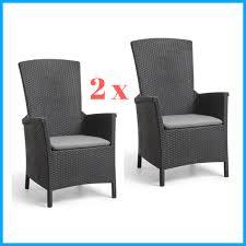 2 Wicker Rattan Reclining Chair Set Armchairs Garden Outdoor Patio