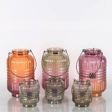 colored outdoor glass candle lanterns