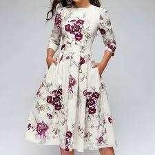 Half Sleeve Pocket Design High Waist Dress Summer Party Dress Women Elegant Floral Print Half Sleeve