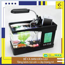 Bể cá mini để bàn có đèn LED hiển thị thứ ngày tháng nhiệt độ môi trường âm  thanh PT Store