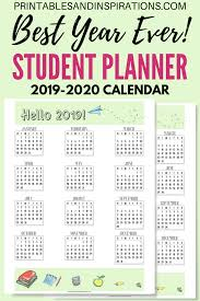 2020 Year At A Glance Calendar Template Free Student Planner Printable Binder For 2019 2020