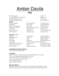 Acting Resume Templates For Kids Free Cover Letter Sample Child