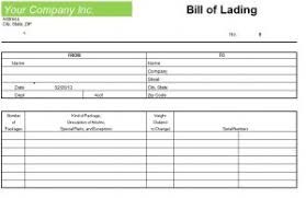 Blank Bill Of Lading Template